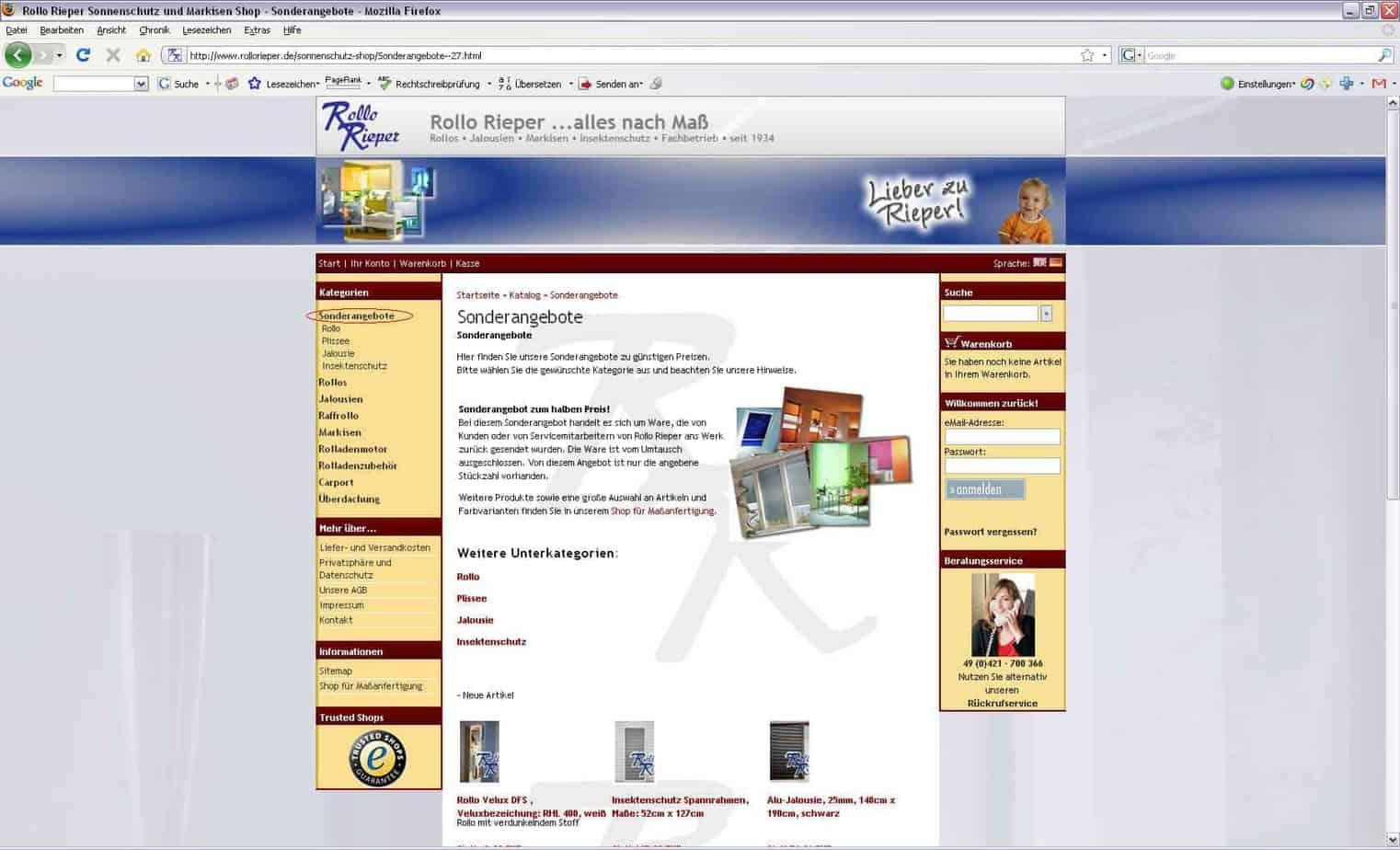 Sonderangebote mit 50% Rabatt im Standard-Shop jetzt online (vom 04.12.2008)