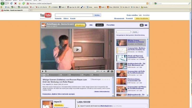 Neu: YouTube Kanal über Rollos jetzt online