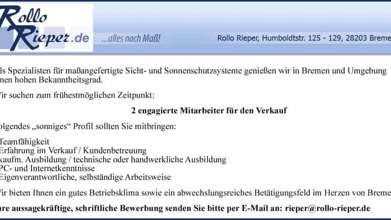 Rollo Rieper sucht zwei neue Mitarbeiter für den Verkauf sowie Auszubildende zum Bürokaufmann/-frau