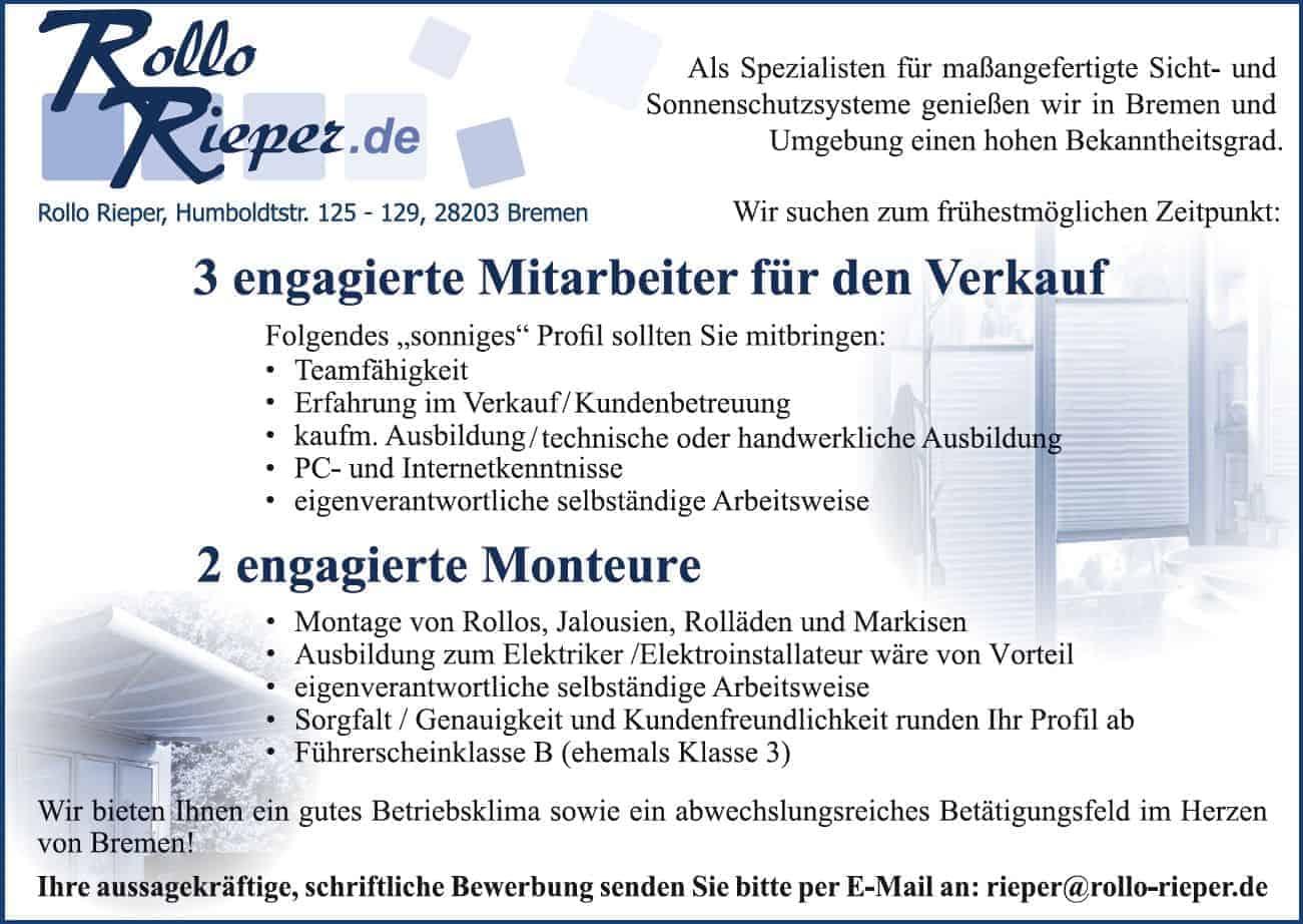 Rollo Rieper expandiert aufgrund sehr guter Geschäftszahlen und sucht neue Mitarbeiter für das Jahr 2012