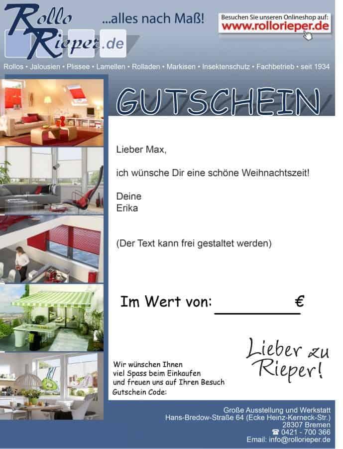Gutschein von RolloRieper.de – Das Weihnachtsgeschenk für Kurzentschlossene