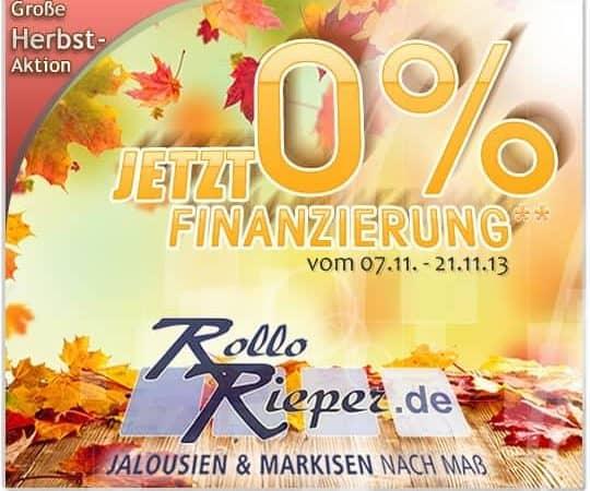 Herbstaktion: jetzt Rollos, Rolläden und Markisen mit 0% Zinsen finanzieren und mit der CashCard Punkte sammeln bei Rollo Rieper