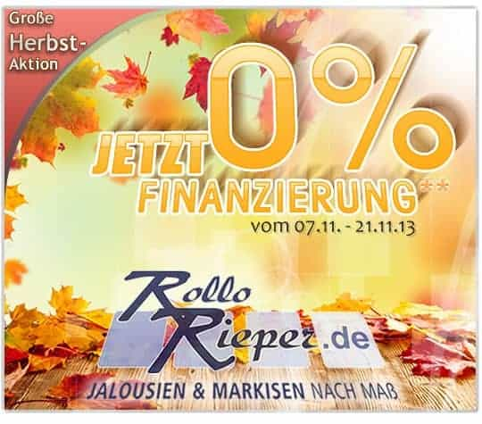 0%-Finanzierung auf Markisen, Rollläden und Rollos