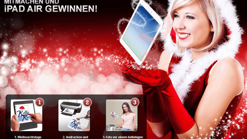 Jetzt am Weihnachtsgewinnspiel teilnehmen und mit einem originellen Foto das neue iPad Air gewinnen