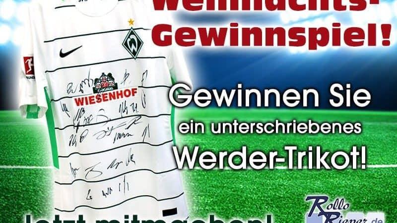Jetzt bei Weihnachtsgewinnspiel mitmachen und ein Werder Trikot mit Originalunterschriften der Spieler gewinnen!