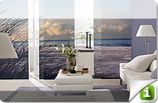Print your individual image at roller blinds, vertical blinds, panel curtains, pleated blinds or canvas