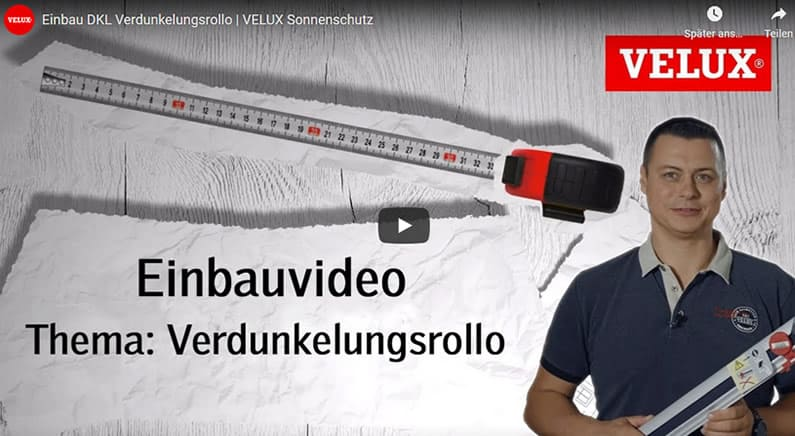 Youtube Film Vorschaubild - Dachfensterrollo VELUX Verdunklung
