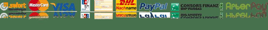 Zahlungsmöglichkeiten - Mastercard, Visa, Lastschrift, Vorkasse